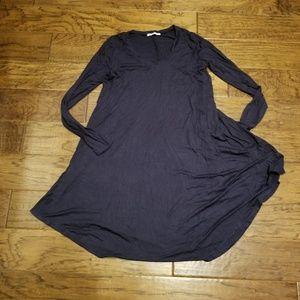 Navy Long-Sleeve V-Neck T-Shirt Swing Dress-M-NWT